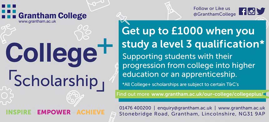 Get up to £1000 when you study a level 3 qualification at Grantham College.