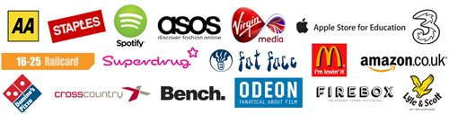 Logos of companies which allow a TOTUM card discount: The AA, Staples, Spotify, ASOS, Virgin Media, Apple, 3 Mobile, Railcard, Superdrug, Fat Face, McDonalds, Amazon, Domino's Pizza, Cross Country, Bench, Odeon, Firebox and Lyle & Scott