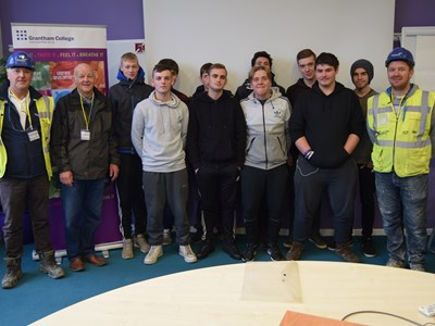 Local business helps Grantham College students build up bricklaying skills