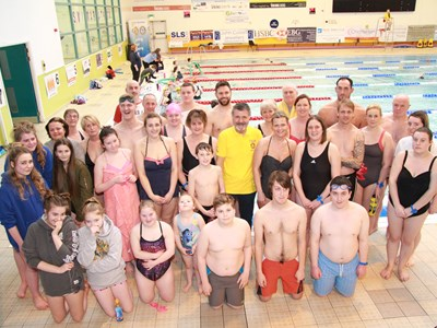 Grantham College Students and staff take part in a Swimarathon for Charity