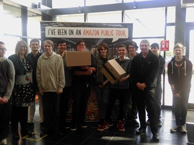 Grantham College IT students visit Amazon fulfilment centre