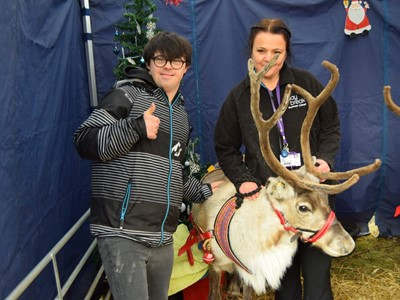 Grantham College gets visit from Santa's reindeer