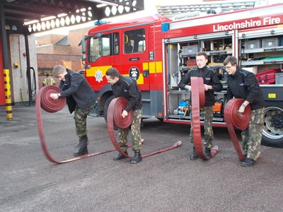 Grantham Fire Station host Grantham College students for the day