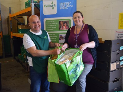 Surprise delivery of sandwiches and snacks donated to foodbank