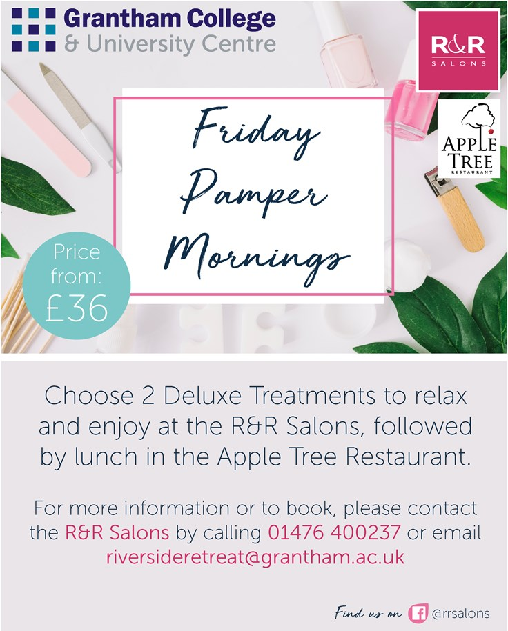 Poster advertising the Friday Pamper Mornings